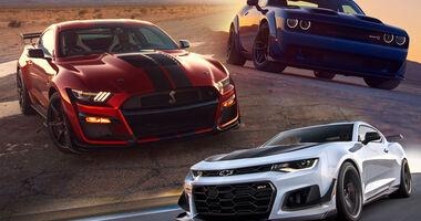01/2019, Kaltvergleich Ford Mustang Shelby GT500 vs Chevrolet Camaro ZL1 vs. Dodge Challenger SRT Hellcat