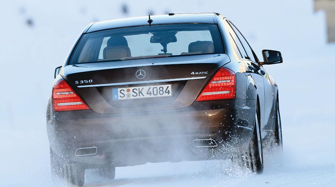 0111, ams 02/2011, Traktionsvergleich, Allradantrieb, Schnee, Mercedes S-Klasse