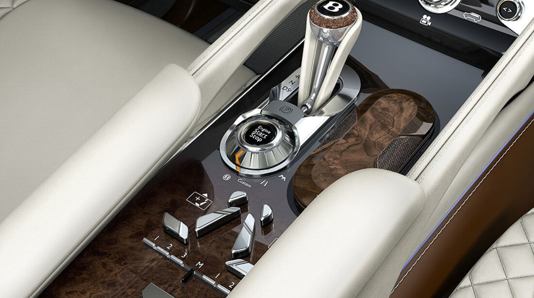 03/2012, Bentley EXP9 SUV Genf, Wählhebel, Mittelkonsole