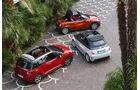 Abarth 595C, Citroën DS3, Mini Roadster, Drauffsicht