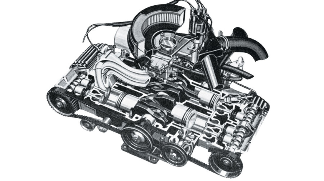 Alfa Romeo Alfasud Skizze Motor