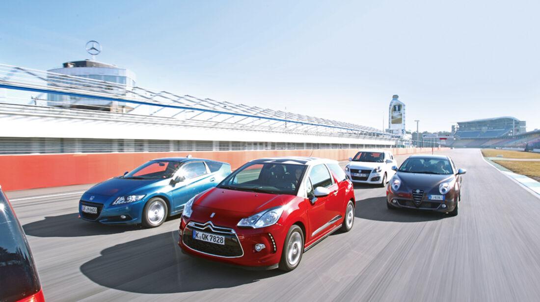 Alfa Romeo Mito 1.4 TB 16V Super, Citroën DS3 THP 155 Sport Chic, Honda CR-Z Sport, Suzuki Swift 1.6 Sport, Front