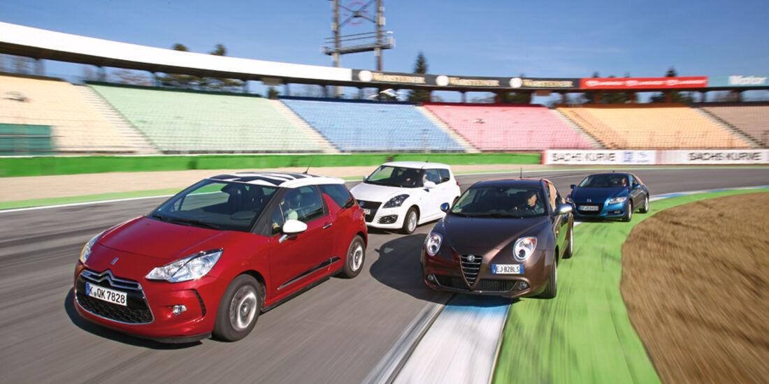 Alfa Romeo Mito 1.4 TB 16V Super, Citroën DS3 THP 155 Sport Chic, Honda CR-Z Sport, Suzuki Swift 1.6 Sport, Kurvenfahrt