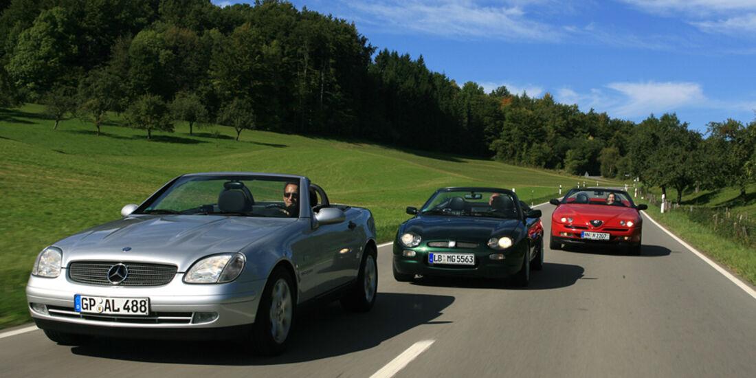 Alfa Romeo Spider 2.0 Twin Spark, MGF, Mercedes-Benz SLK 230 Kompressor