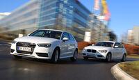 Audi A3 1.6 TDI Ultra, BMW 116d Efficient Dynamics Edition, Frontansicht