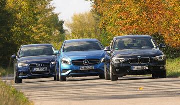 Audi A3 Sportback 1.4 TFSI, BMW 116i, Mercedes A 180, Frontansicht