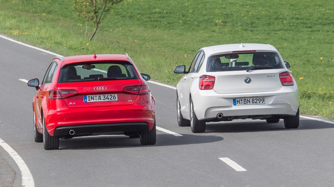 Audi A3 Sportback 1.6 TDI, BMW 114d, Heckansicht