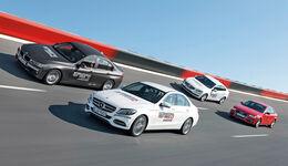 Audi A4 1.8 TFSI, BMW 320i, Mercedes C 200, Volvo S60 T4, Steilwand