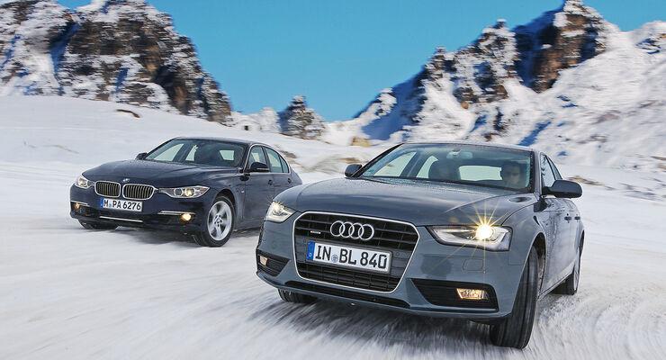 Audi A4 2.0 TFSI Quattro, BMW 328i x-Drive, Frontansicht