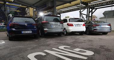 Audi A5 Sportback g-Tron 2.0 TFSI, Mercedes B 200 c, Opel Zafira 1.6 CNG, VW Golf TGI, Exterieur
