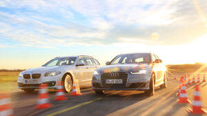 Audi A6 Avant 2.0 TDI Ultra, BMW 520d Touring, Frontansicht