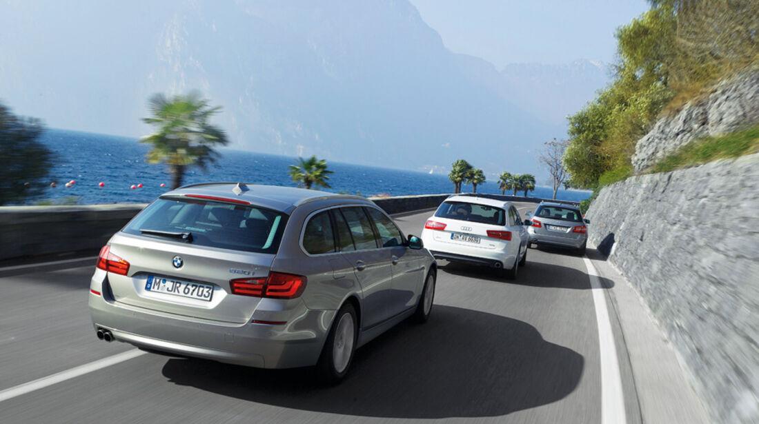 Audi A6, Mercedes E 200, BMW 520i