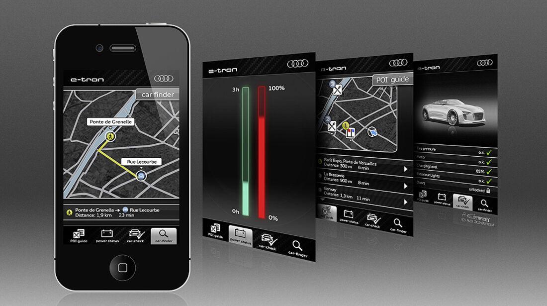 Audi E-Tron Spyder, Designskizze, iPhone