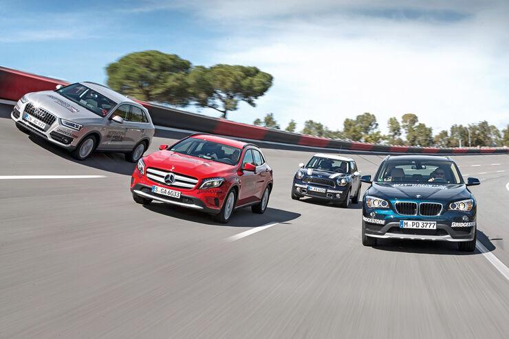 Audi Q3, BMW X1, Mercedes GLA, Mini Countryman Cooper S, Frontansicht