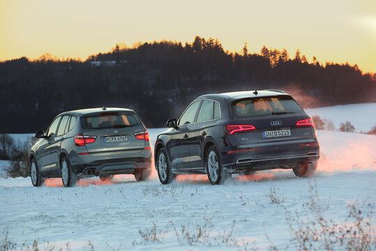 Audi Q5 2.0 TFSI Quattro, BMW X3 xDrive 28i, Heckansicht