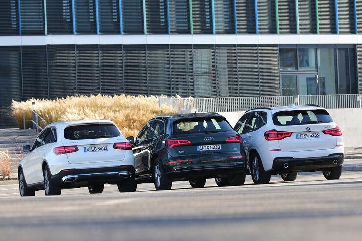Audi Q5 3.0 TDI Quattro, Mercedes GLC 350 d 4Matic, BMW X3 xDrive 30d, Exterieur