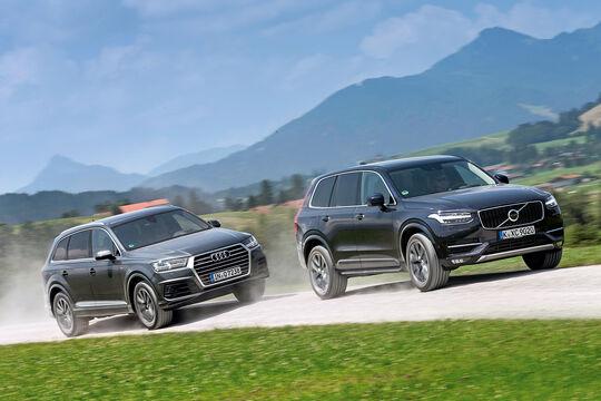 Audi Q7 3.0 TDI Quattro, Volvo XC90 D5, Frontansicht