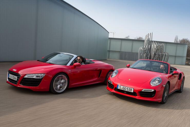 Audi R8 Spyder 5.2 FSI Quattro, Porsche 911 Turbo Cabriolet, Frontansicht