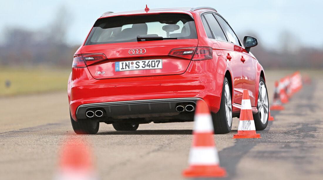 Audi S3 Sportback, Slalom, Heckansicht