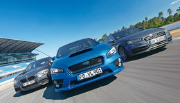 Audi S3, Subaru WRX Sti, BMW M135i x-Drive, Frontansicht