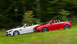 Audi TT Roadster 2.0 TFSI, Mercedes SLC 300, Seitenansicht