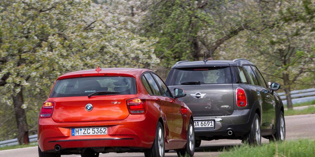 BMW 116d, Mini Countryman Cooper D, Heck