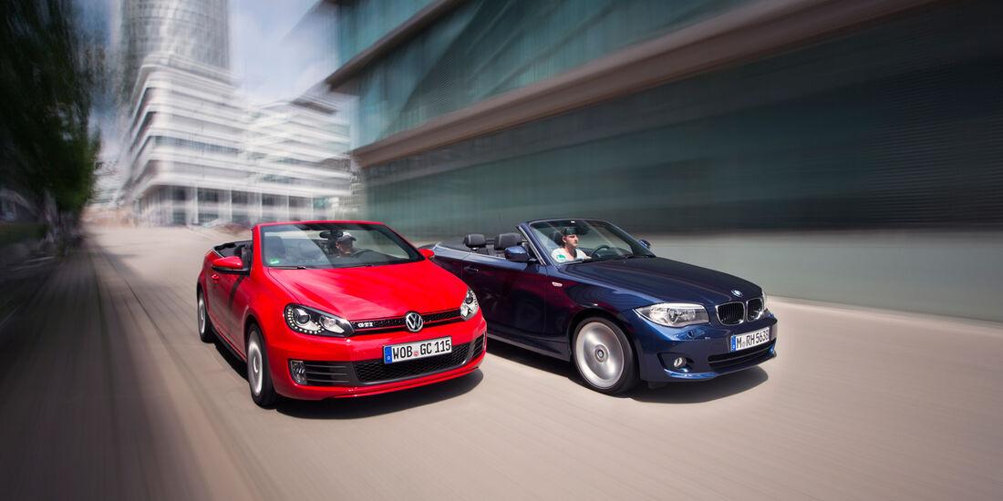 BMW 125i Cabrio, VW Golf GTI Cabrio, Frontansicht