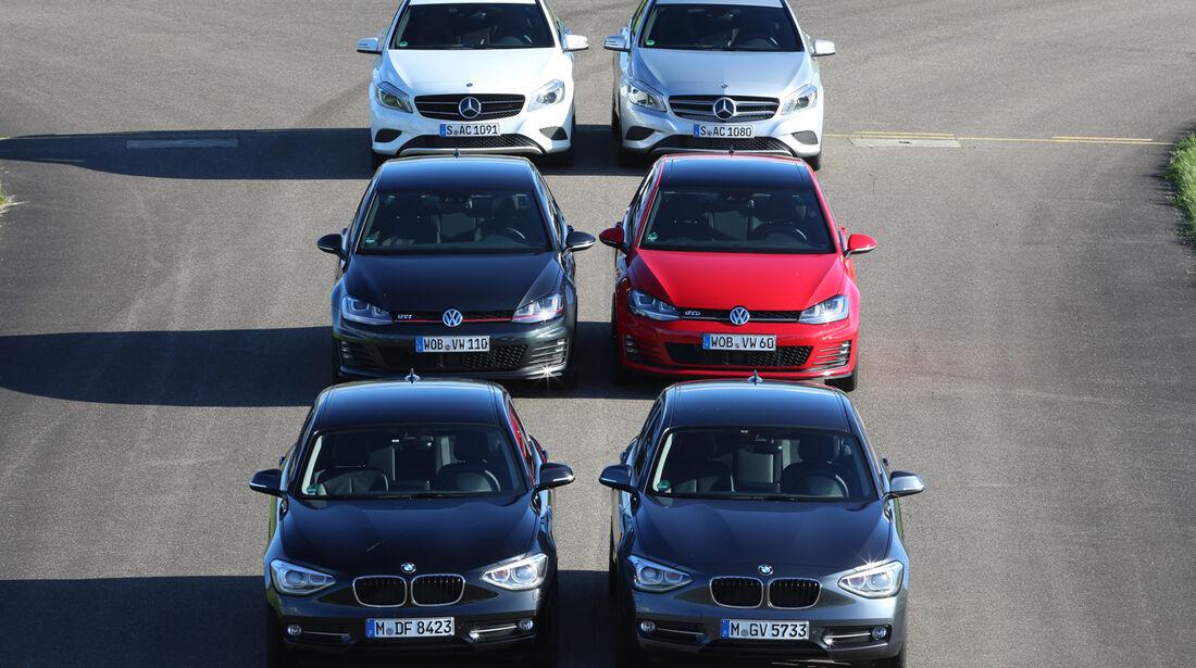 BMW 125i, Mercedes A 250, VW Golf GTI Performance, VW Golf GTD, Mercedes A 220 CDI, BMW 125d