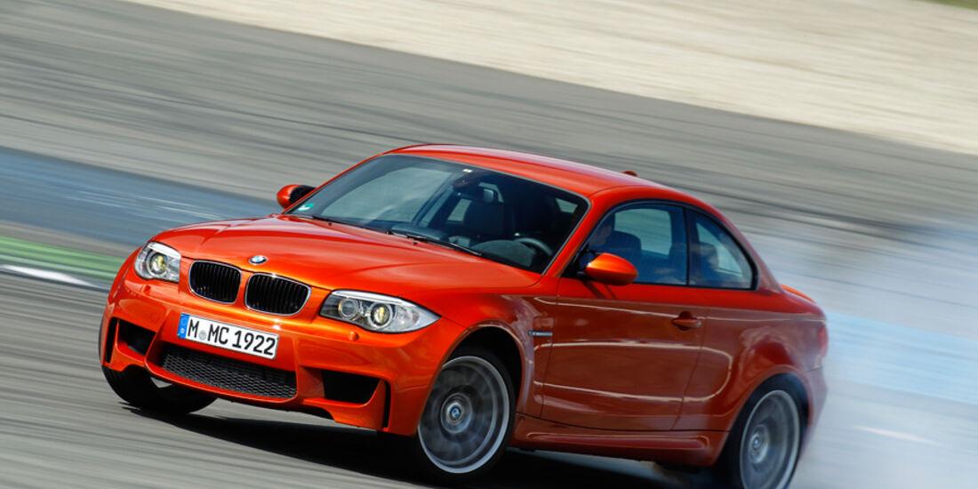 BMW 1er M Coupe, Frontansicht, Driften, Rauch
