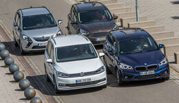 BMW 218i Gran Tourer, Ford Grand C-Max 1.5 Ecoboost, Opel Zafira 1.4 Turbo Exoflex, VW Touran 1.4 TSI