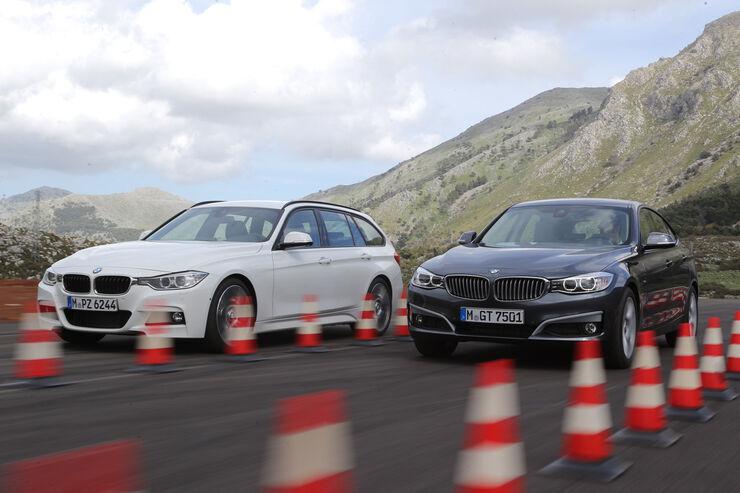 BMW 320d Touring, BMW 320d GT, Frontansicht, Bremstest