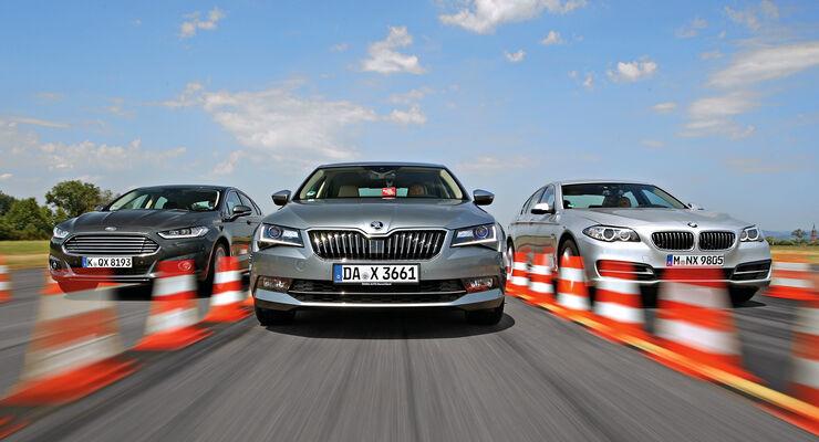 BMW 520d, Ford Mondeo 2.0 TDCI, Skoda Superb 2.0 TDI, Frontansicht