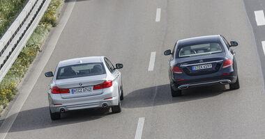 BMW 520d, Mercedes E 220 d, Exterieur Heck