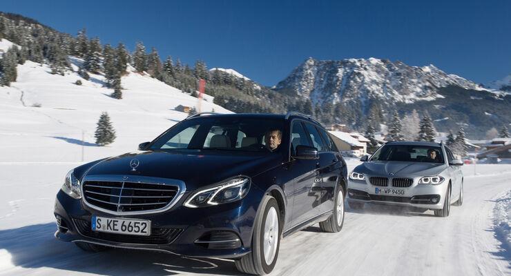 bmw 525d touring und mercedes e 250 cdi: allrad-schneekönige im