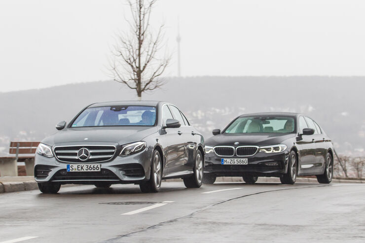 BMW 540i xDrive, Mercedes E 400 4Matic, Frontansicht