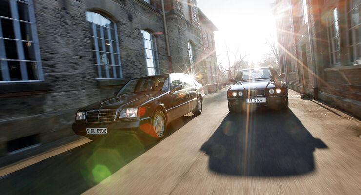 BMW 750 iL, Mercedes-Benz 600 SEL, Frontansicht
