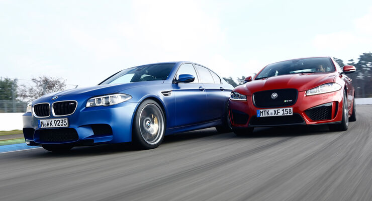 BMW M5 Competition, Jaguar XFR-S, Frontansicht