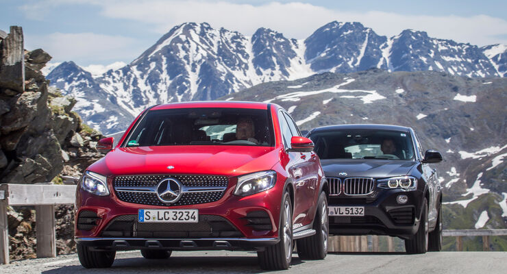 BMW X4, Mercedes GLC Coupé, Frontansicht