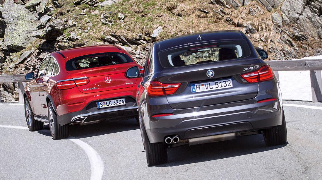 BMW X4, Mercedes GLC Coupé, Heckansicht