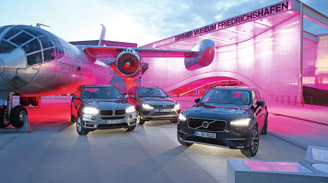 BMW X5, Volvo XC90, VW Touareg, Frontansicht