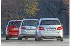BMW Zweier Active Tourer, Mercedes B-Klasse, VW Golf Sportsvan, Heckansicht