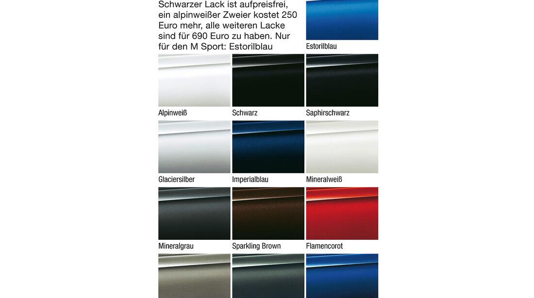 BMW Zweier Gran Tourer, Farben