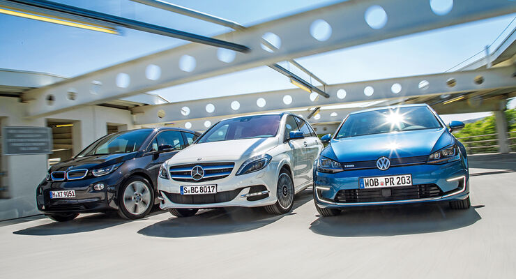 BMW i3, Mercedes B-Klasse Electric Drive, VW e-Golf, Frontansicht