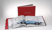 Buch Leder gebunden offen zwei 50 Jahre Jaguar E-Type