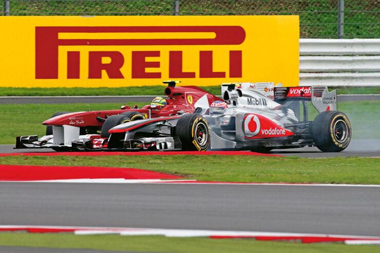 Button presst sich beim GP England an Massa vorbei
