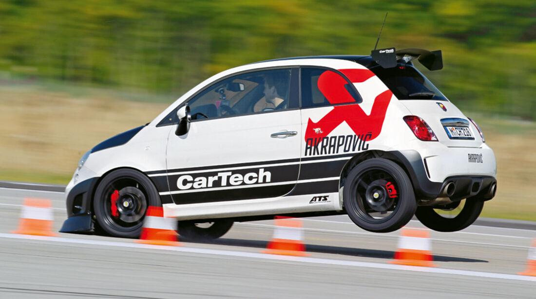 Cartech-Abarth 500 Coppa, Seitenansicht, Bremsmanöver