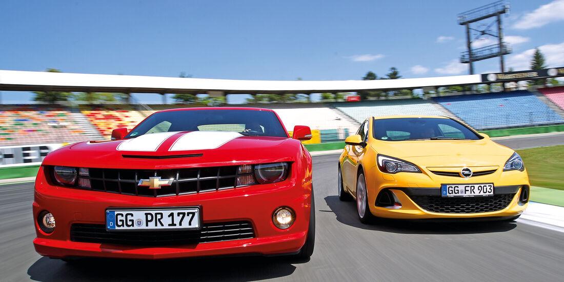 Chevrolet Camaro, Opel Astra OPC, Frontansicht