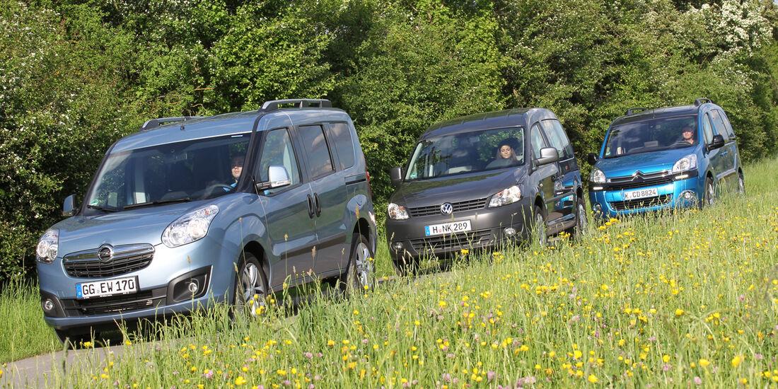Citroën Berlingo, Opel Combo, VW Caddy, Frontansicht