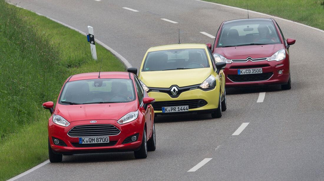 Citroën C3, Ford Fiesta, Renault Clio, Frontansicht