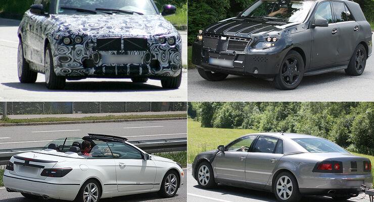 Erlkönig Mercedes ML, VW Phaeton, Mercedes E-Klasse Cabrio, BMW 1er